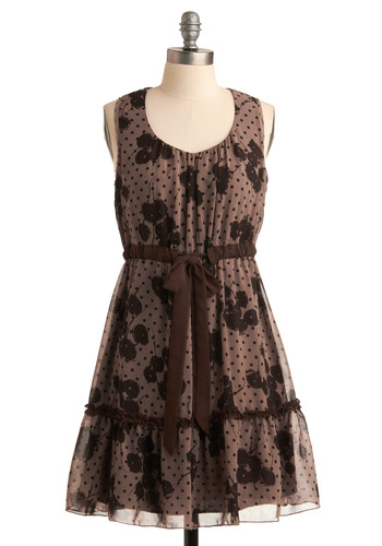 Thistle a Happy Tune Dress - Brown, Polka Dots, Floral, Bows, Cutout, Tiered, Casual, A-line, Sleeveless, Tank top (2 thick straps), Fall, Mid-length, Belted