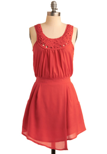 A Braid New Dress - Solid, Braided, Pockets, Woven, Casual, A-line, Tank top (2 thick straps), Spring, Summer, Red, Short