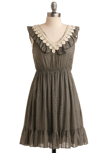 The Best Partnership Dress - Polka Dots, Lace, Ruffles, Casual, A-line, Empire, Tank top (2 thick straps), Spring, Summer, Tan / Cream, Black, Short