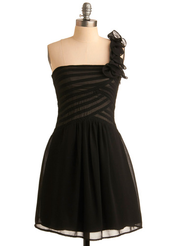 Right on Corsage Dress - Black, Solid, Ruffles, Wedding, Party, A-line, One Shoulder, Special Occasion, Prom, Mid-length