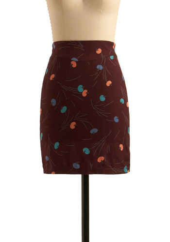 Painter's Palette Bouquet Skirt - Brown, Orange, Green, Blue, Floral, Pockets, Party, Work, Casual, Shift, Print, Mid-length, 80s