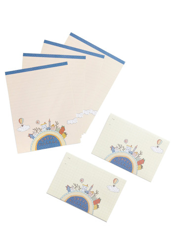 Thanks a Town Stationery Set - Cream, Blue, Novelty Print