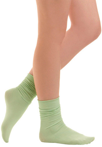 Sock About It in Text - Green, Solid, Casual, Knitted