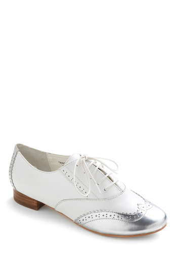 Silver and Brogue Flat - White, Silver, Party, Casual, Menswear Inspired, Vintage Inspired, Rockabilly