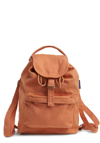 Street Team Backpack in Uptown by Baggu - Orange, Solid, Buckles, Pockets, Casual, Summer, Scholastic/Collegiate, Cotton, Eco-Friendly