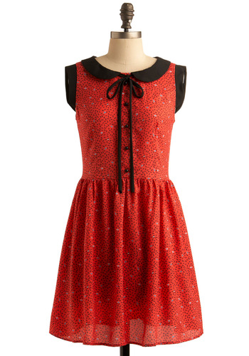 Scratch 'n' Style Dress - Red, Black, Print, Bows, Buttons, Peter Pan Collar, Casual, Vintage Inspired, A-line, Sleeveless, Spring, Summer, Shirt Dress, 60s, Mid-length