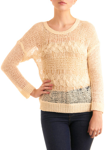 A Good Gauze Sweater - Cream, Multi, Knitted, Casual, Long Sleeve, Mid-length, White