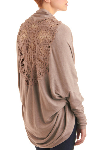 Whispering Breezes Cardigan - Solid, Crochet, Cutout, Long Sleeve, Fall, Tan, Lace, Casual, Mid-length, Steampunk, Sheer, Variation