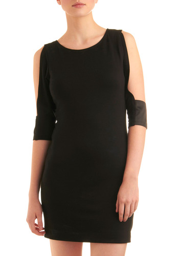 Deep Space Fine Dress - Black, Solid, Cutout, Party, Sheath / Shift, 3/4 Sleeve, Mid-length