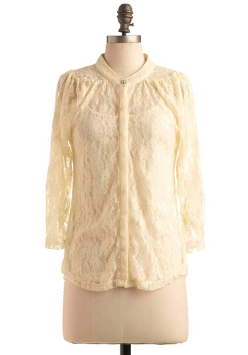 Laced but Not Least Top - Cream, Floral, Lace, Work, Casual, 3/4 Sleeve, Mid-length