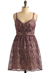 Purple Sways Dress - Purple, Cream, Floral, Lace, Special Occasion, Prom, Wedding, Party, A-line, Empire, Spaghetti Straps, Short