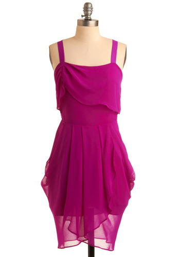 Rubellite Waves Dress - Solid, Pleats, Tiered, Party, Tank top (2 thick straps), Spring, Summer, Vintage Inspired, 20s, 30s, Mid-length, Pink