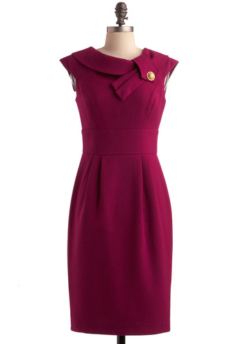 Work to Wow Dress - Solid, Buttons, Pleats, Party, Work, Vintage Inspired, 50s, Sheath / Shift, Sleeveless, Purple, Long