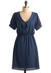 Blue Isthmus Dress - Blue, Solid, Casual, A-line, Short Sleeves, Mid-length, Collared