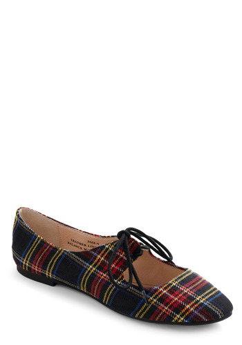 Plaid Thai Flat - Black, Multi, Red, Yellow, Blue, Plaid, Bows, Cutout, Casual