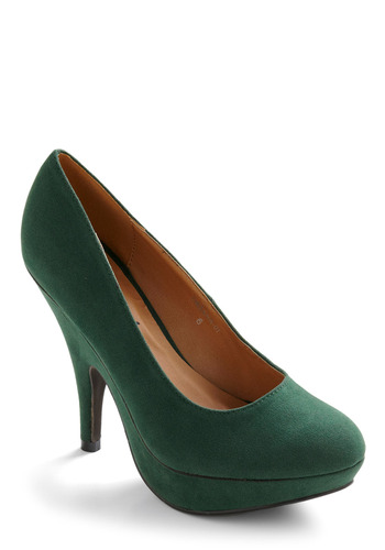 Green of the Crop Heel - Green, Solid, Party, Work, Casual, Vintage Inspired, 80s