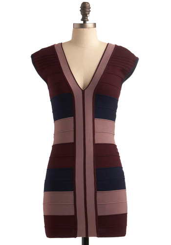 All That Band More Dress - Red, Blue, Pink, Stripes, Casual, Sheath / Shift, Cap Sleeves, Short