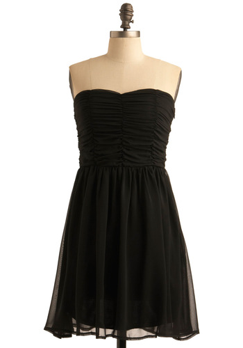 Motion Picturesque Dress - Black, Solid, Formal, Party, A-line, Strapless, Mid-length