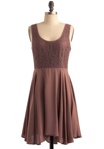 My Bain-Marie Dress by Jack by BB Dakota - Brown, Solid, Print, Lace, Party, Casual, A-line, Tank top (2 thick straps), Mid-length, Scoop