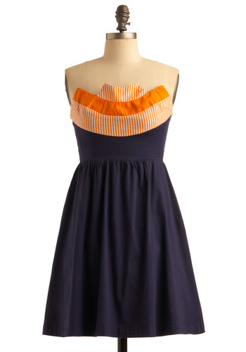Orange Ap-peel Dress - Blue, Orange, Solid, Stripes, Party, Casual, A-line, Empire, Strapless, Mid-length