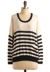 Bring It Around Town Top - White, Stripes, Pockets, Nautical, Long Sleeve, Mid-length, Blue