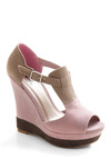 Neopolitan Dream Wedge - Pink, Cream, Brown, Buckles, Cutout, Casual, Wedge, Good, T-Strap