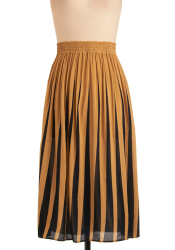 Backgammon Queen Skirt by Motel - Yellow, Print, Casual, Vintage Inspired, Long, Black