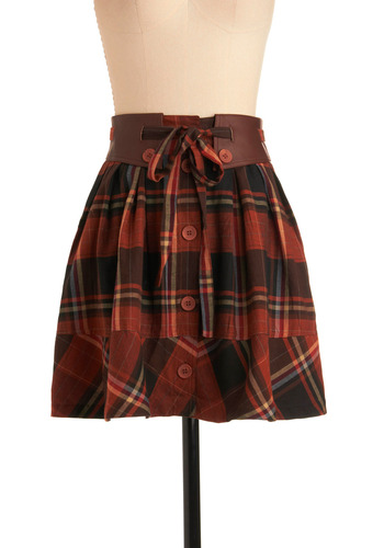 Kilting Me Softly Skirt - Orange, Brown, Yellow, Black, Plaid, Bows, Buttons, Casual, Fall, Work, 70s, Short