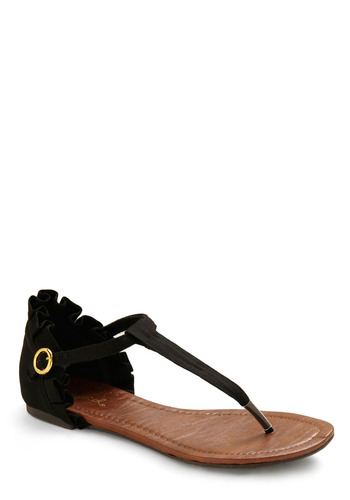 Two Steps Black Sandal - Black, Solid, Buckles, Pleats, Casual, Spring, Summer