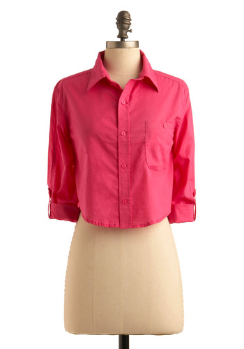 Flagstaff Hill Top - Pink, Solid, Buttons, Pockets, Casual, Long Sleeve, 3/4 Sleeve, Summer, Fall, Short