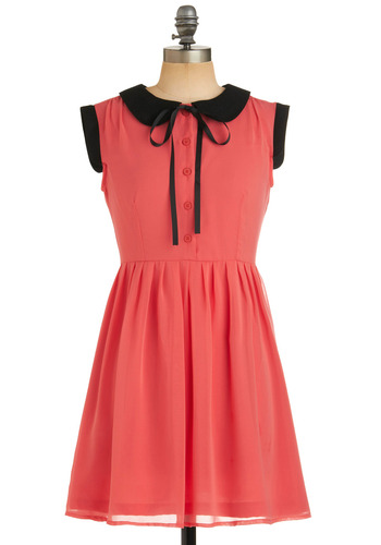 London Collar-ing Dress by Dahlia - Red, Solid, Peter Pan Collar, Work, Casual, Cap Sleeves, Spring, Summer, Fall, Pink, Black, Buttons, A-line, Shirt Dress, Vintage Inspired, 60s, Mid-length