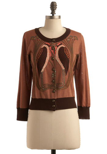 Shirley's Heron Cardigan by Knitted Dove - Brown, Orange, Print with Animals, Novelty Print, Buttons, Trim, Casual, Long Sleeve, Fall, Short