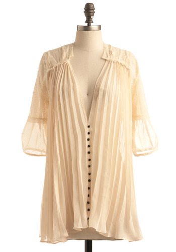 Gauze and Effect Top - Cream, Black, Solid, Bows, Buttons, Lace, Pleats, Casual, 3/4 Sleeve, Long