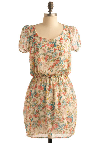 Remarkable Rare Finds Dress - Cream, Multi, Yellow, Green, Blue, Pink, Floral, Casual, Short Sleeves, Spring, Summer, Mid-length