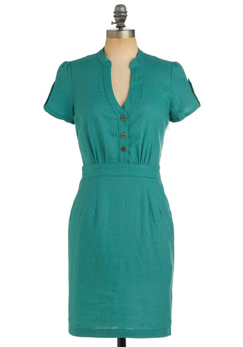 Student Senator Dress - Green, Solid, Buttons, Pockets, Work, Casual, Vintage Inspired, Sheath / Shift, Short Sleeves, 50s, Spring, Summer, Fall, Show On Featured Sale, Mid-length