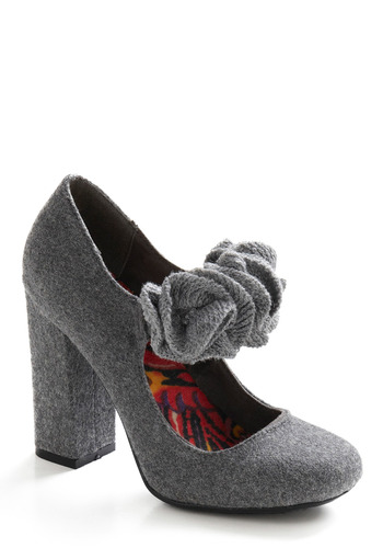 Denmark's the Spot Heel - Grey, Flower, Work, Casual, Fall, Winter