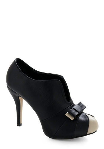 Bow Your Strengths Heel - Black, White, Bows, Formal, Party, Casual, Prom, Wedding