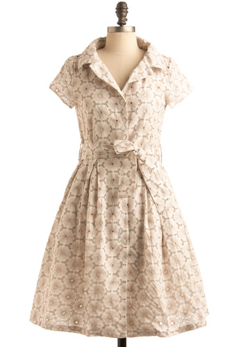 Eye-let It Ride Dress - Tan, Cream, Bows, Embroidery, Eyelet, Pleats, Pockets, Casual, Vintage Inspired, Short Sleeves, Work, Spring, Summer, Fall, A-line, Shirt Dress, Mid-length