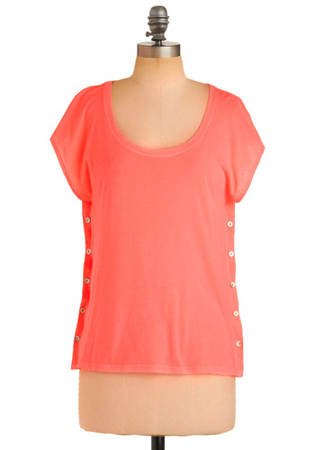 Generation Tee Top - Pink, Solid, Buttons, Casual, Short Sleeves, Spring, Summer, Fall, 80s, Mid-length
