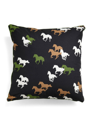 Herd It All Pillow - Brown, Green, Brown, Tan / Cream, Print with Animals, Dorm Decor
