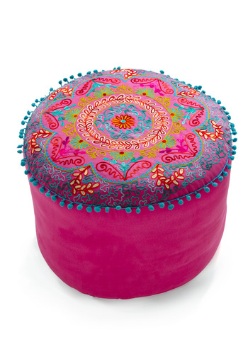 Folky Fresh Pouf in Fuchsia by Karma Living - Multi, Trim, Spring, Summer, Fall, Dorm Decor
