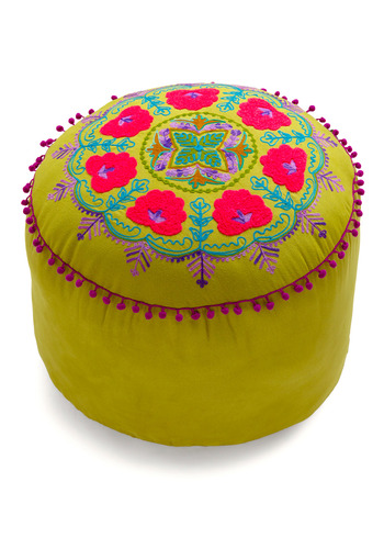 Folky Fresh Pouf in Olive by Karma Living - Multi, Trim, Spring, Summer, Fall, Green, Blue, Purple, Pink, Embroidery, Dorm Decor
