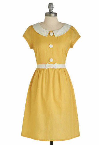 Fair and Lemon Square Dress by Tulle Clothing - Yellow, Solid, Bows, Peter Pan Collar, Party, Work, Casual, Vintage Inspired, A-line, Cap Sleeves, Spring, Fall, White, Buttons, Shirt Dress, Mid-length, 60s