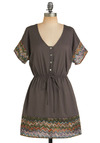 Hometown Overlook Dress - Multi, Casual, A-line, Short Sleeves, Fall, Grey, Short