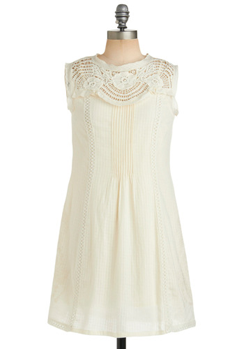 Wanderlaced Tunic - Cream, Crochet, Sheath / Shift, Sleeveless, Spring, Fall, Casual, Long