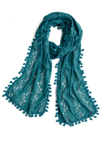 You're the Pom Scarf - Green, Blue, Floral, Lace, Trim, Casual, Spring, Fall