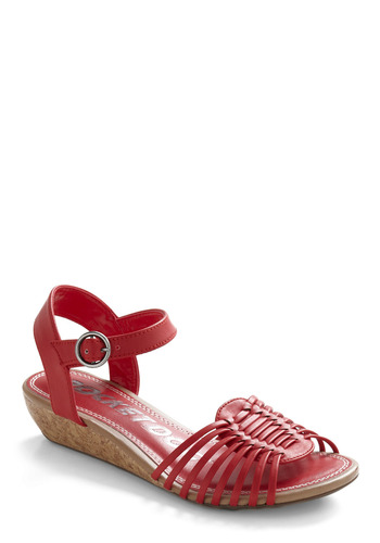 Candy Aisle Wedge - Red, Buckles, Cutout, Casual, Spring, Summer