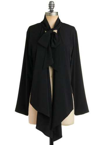 That's a Wrap Top - Black, Solid, Bows, Long Sleeve, Party, Work, Fall, Winter, Ruffles, Short
