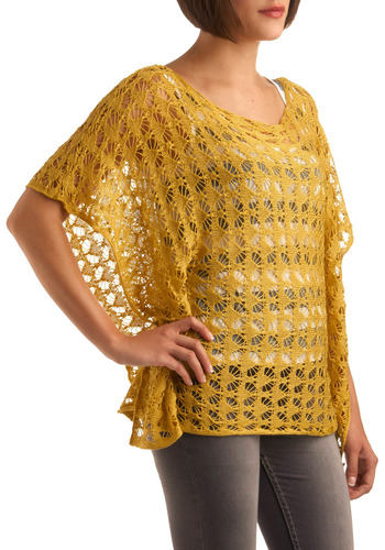 Pineapple Party Top - Yellow, Solid, Crochet, Casual, Summer, Fall, Knitted, Short Sleeves, Mid-length
