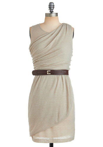 Sash-urated in Fashion Dress - Cream, Brown, Solid, Buckles, Buttons, Sheath / Shift, Wrap, Sleeveless, Casual, Safari, Spring, Summer, Fall, Mid-length